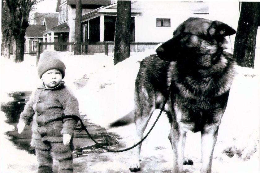 boy with huge dog Bozo