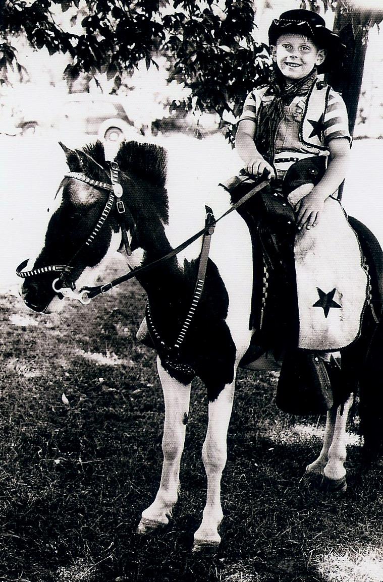 Dennis on horse, 1948