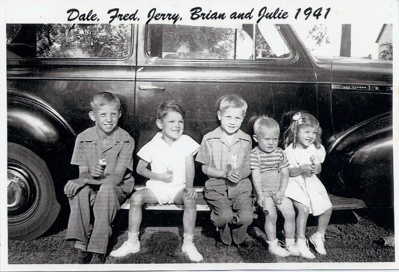 Five kids on running board, 1941