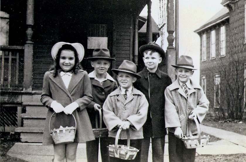 Five kids w: Easter baskets (no info)