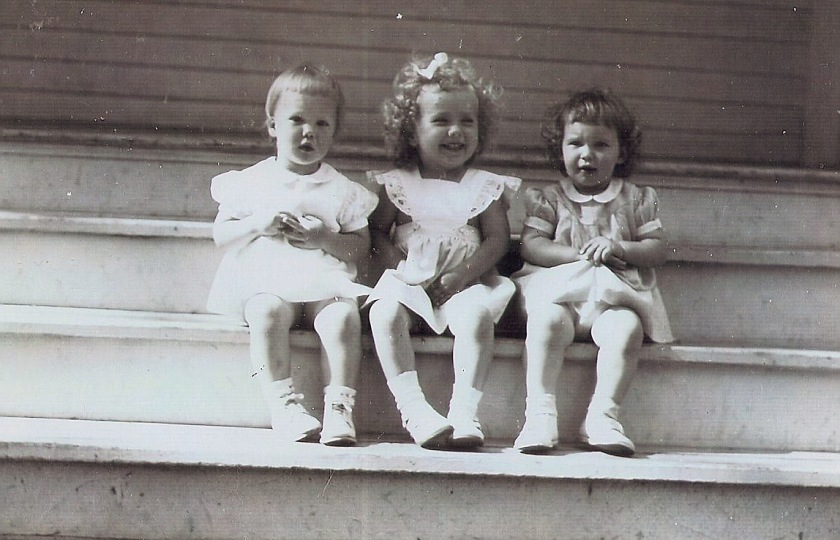 three little girls on steps, 1949